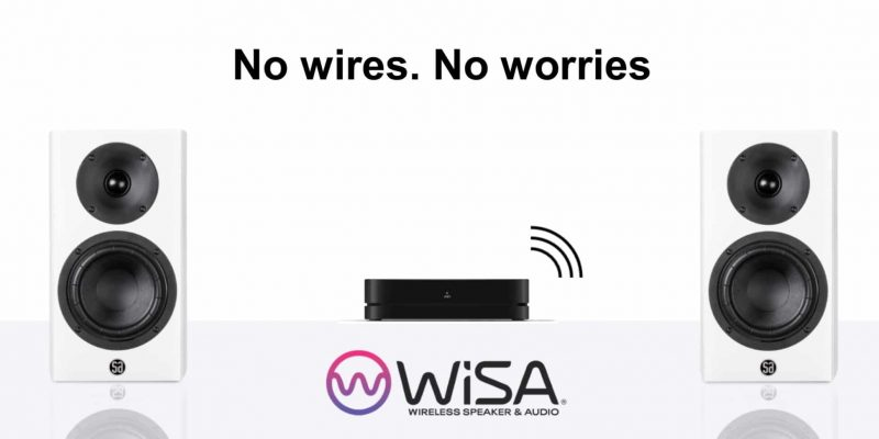 WiSA logo with speakers